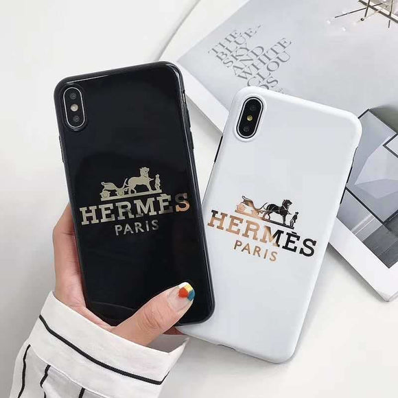 Hermes Style Electroplating Glossy TPU Silicone Designer iPhone Case For 12 SE 11 Pro Max X XS XR 7 8 Plus - IPhone