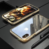Hybrid Metal + Anti-Scratch Gorilla Glass HD Transparent Ultra Slim Shockproof Heavy Duty case for iPhone SE 11 PRO MAX Xs Max Xr X - Gold /