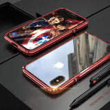 Hybrid Metal + Anti-Scratch Gorilla Glass HD Transparent Ultra Slim Shockproof Heavy Duty case for iPhone SE 11 PRO MAX Xs Max Xr X - Red /
