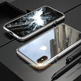 Hybrid Metal + Anti-Scratch Gorilla Glass HD Transparent Ultra Slim Shockproof Heavy Duty case for iPhone SE 11 PRO MAX Xs Max Xr X - Silver
