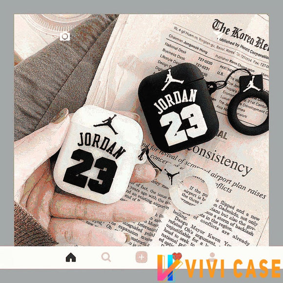 Jordan Style 23 Basketball Black White Silicone Protective Shockproof Case For Apple Airpods 1 & 2 - AirPods