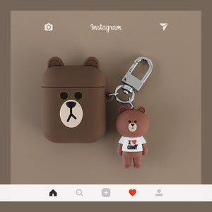 LINE Friends Bear Rabbit Cute Silicone Protective Shockproof Case For Apple Airpods 1 & 2 - AirPods