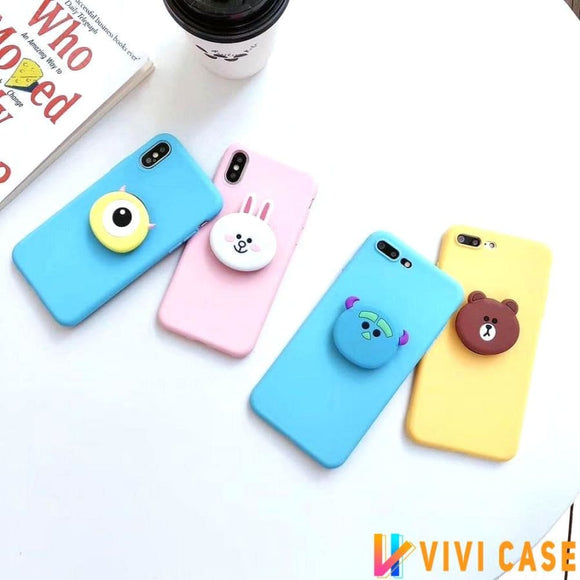 LINE Friends Style Matte 3D Pop Socket Kickstand Silicone Designer Cute iPhone Case For X XS Max XR 7 8 Plus