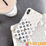 iPhone 11 WhiteSmallLogo / iPhone 7 Louis Vuitton Style Monogram Electroplating Glossy TPU Silicone Designer iPhone Case For iPhone 11 Pro Max X XS XS Max XR 7 8 Plus