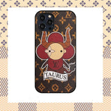 Louis Vuitton Style Taurus Leather Designer iPhone Case For All Models - IPhone 12