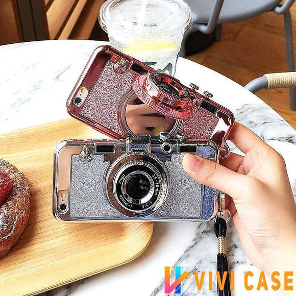 Luxury Bling Glitter Metallic Camera Mirror Silicone Designer iPhone Case With Kickstand For X XS Max XR