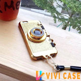 Luxury Bling Glitter Metallic Camera Mirror Silicone Designer iPhone Case With Kickstand For X XS Max XR - GOLD / for 7 8