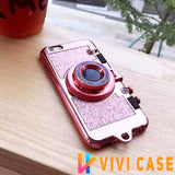 Luxury Bling Glitter Metallic Camera Mirror Silicone Designer iPhone Case With Kickstand For X XS Max XR - PINK / for 7 8
