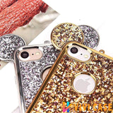 Luxury Cute Mickey Mouse Glitter Shiny Ears Soft TPU Silicone Designer iPhone Case For X XS XR Max