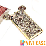 Luxury Cute Mickey Mouse Glitter Shiny Ears Soft TPU Silicone Designer iPhone Case For X XS XR Max - Gold / 7 Plus