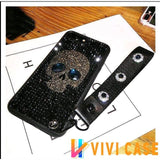 Luxury Diamond Full Rhinestone Skull 100% Handmade Silicone Designer iPhone Case With Lanyard For X XS XR Max - 1 / iphone 7 8