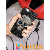 Luxury Diamond Full Rhinestone Skull 100% Handmade Silicone Designer iPhone Case With Lanyard For X XS XR Max - 11 / iphone 7 8