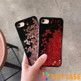 Luxury Edgy Cute Liquid Heart Glitter Dark Shiny Bling Quicksand Silicone Designer iPhone Case For X XS Max XR