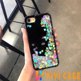 Luxury Edgy Cute Liquid Heart Glitter Dark Shiny Bling Quicksand Silicone Designer iPhone Case For X XS Max XR - Silver / 7
