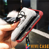 Luxury GC Style 3D Bee Fashion Plush Glitter Silicone Designer iPhone Case With Fox Fur Ball For X XS XR Max