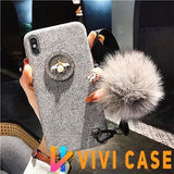 Luxury GC Style 3D Bee Fashion Plush Glitter Silicone Designer iPhone Case With Fox Fur Ball For X XS XR Max - Grey / iphone 7 8