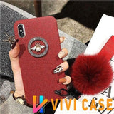 Luxury GC Style 3D Bee Fashion Plush Glitter Silicone Designer iPhone Case With Fox Fur Ball For X XS XR Max - Red / iphone 7 8