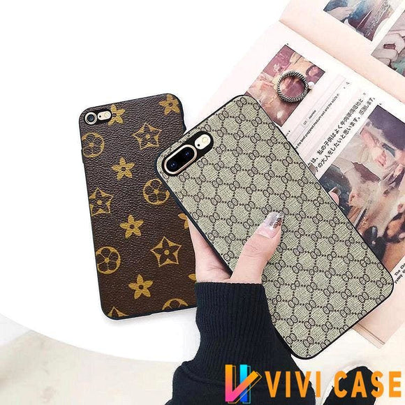 Luxury GC Style Classic Logo Leather Designer iPhone Case For X XS XR Max