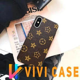Luxury GC Style Classic Logo Leather Designer iPhone Case For X XS XR Max - lvlh / for iphone 7plus