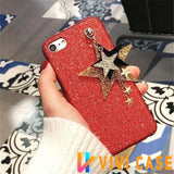 Luxury Glitter Shiny Diamond Star Soft Silicone Designer iPhone Case With Chain For X - 1 / iphone 7 8