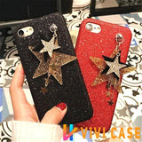 Luxury Glitter Shiny Diamond Star Soft Silicone Designer iPhone Case With Chain For X