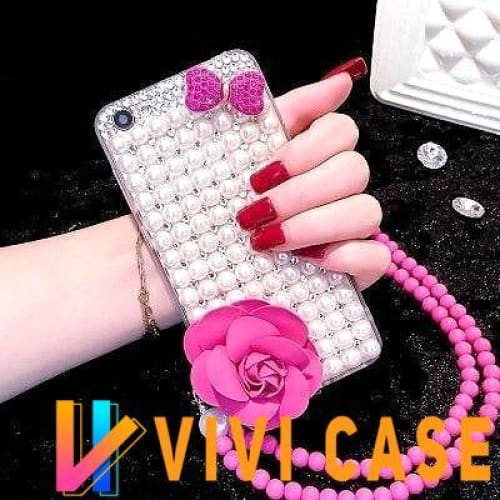 Luxury Pearl Rhinestone Diamond Rose Glitter Ribbon Bow Tie Bling Silicone Designer iPhone Case With Lanyard For X XS XR Max - 1 / iphone 7