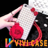 Luxury Pearl Rhinestone Diamond Rose Glitter Ribbon Bow Tie Bling Silicone Designer iPhone Case With Lanyard For X XS XR Max - 11 / iphone 7