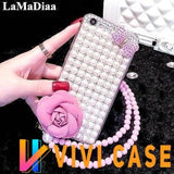 Luxury Pearl Rhinestone Diamond Rose Glitter Ribbon Bow Tie Bling Silicone Designer iPhone Case With Lanyard For X XS XR Max - 12 / iphone 7