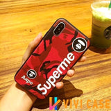 Luxury Supreme Style Red Camo Army Matte Silicone Designer iPhone Case For SE 11 PRO MAX X XS Max XR - (2nd Gen)