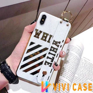 iPhone Case Luxury Off White Style Golden Strip Leather Kickstand iPhone Case