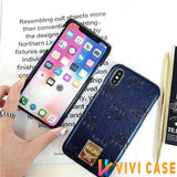 MCM Style Shimmer Leather Shockproof Protective Designer iPhone Case For SE 11 Pro Max X XS XR 7 8 Plus