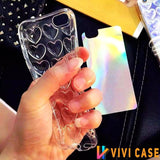 Metalic Bumpy 3D Heart Shiny Silicone Protective Airbag iPhone Case For X / XS / Max / XR