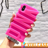 Modern Edgy 3D Sculpted PINK Cute Soft Silicone Airbag Designer iPhone Case For X 7 Plus 8 - 15 / for
