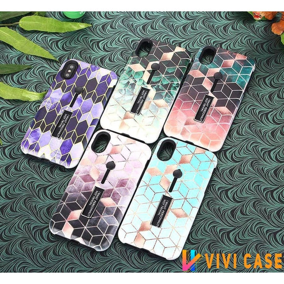 Modern Shiny Mermaid Diamond iPhone Case With Glider Finger Holder For X / XS / Max / XR