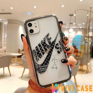 NIKE CDG Style Tempered Glass Shockproof Protective Designer iPhone Case For SE 11 Pro Max X XS XR 7 8 Plus
