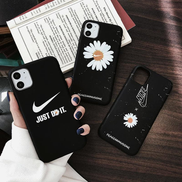 Nike Style Daisy Silicone Designer iPhone Case For 12 SE X XS Max XR 7 8 Plus - IPhone