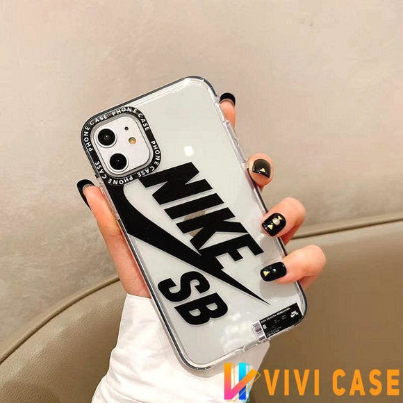 NIKE Style SB Series Tempered Glass Clear Protective Designer iPhone Case For SE 11 Pro Max X XS XR 7 8 Plus - Nike / (2nd Gen)
