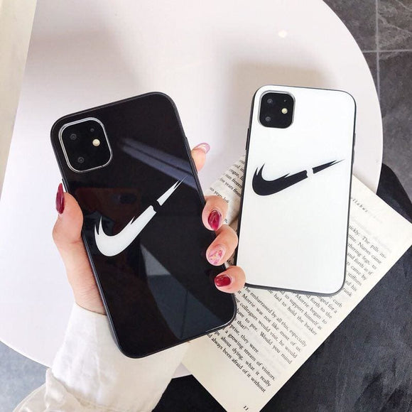 NIKE Style Swoosh Tempered Glass Shockproof Protective Designer iPhone Case For 12 SE 11 Pro Max X XS XR 7 8 Plus - IPhone
