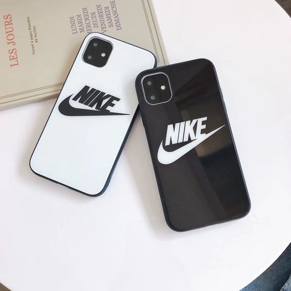 Nike Style Tempered Glass Designer iPhone Case For 12 SE 11 Pro Max X XS XR 7 8 Plus - IPhone