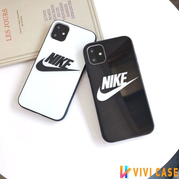 Nike Style Tempered Glass Designer iPhone Case For SE 11 Pro Max X XS XR 7 8 Plus
