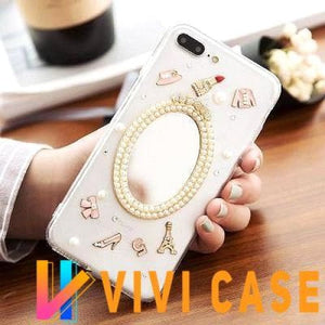 Pearl Mirror Cute Clear Transparent Silicone Luxury Designer iPhone Case With Lanyard Strap For X XS Max XR