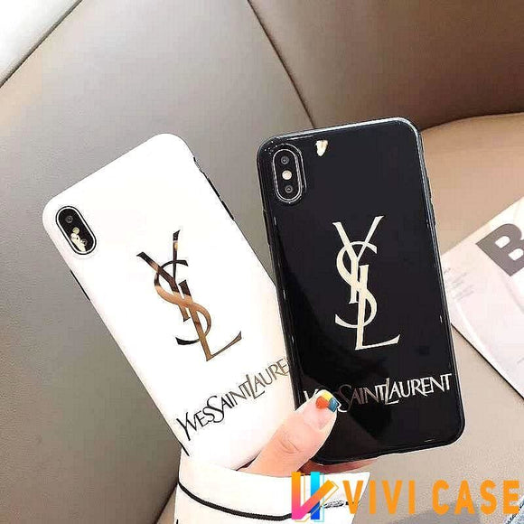 Saint Laurent Paris YSL Style Electroplating Glossy TPU Silicone Designer iPhone Case For SE 11 Pro Max X XS XR 7 8 Plus