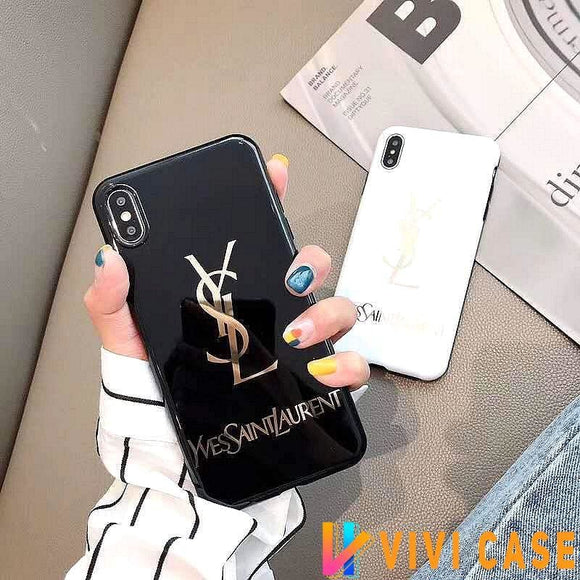 iPhone Case Saint Laurent Paris YSL Style Electroplating Glossy TPU Silicone Designer iPhone Case For iPhone X XS XS Max XR 7 8 Plus