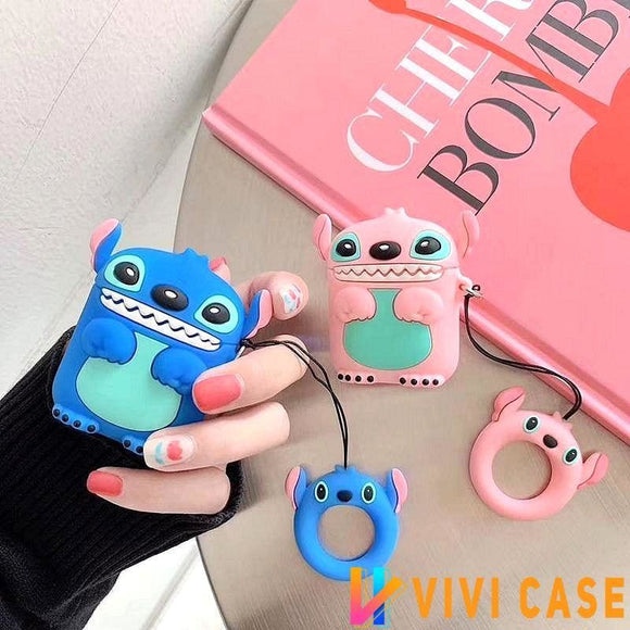 Stitch Cute Blue Pink Silicone Protective Shockproof Case For Apple Airpods 1 & 2 - AirPods