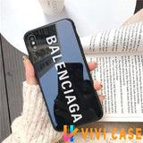 Best Stylish Balenciaga Paris Sports Tempered Glass Designer iPhone Case For SE 11 Pro Max X XS XR 7 8 Plus - Black / (2nd Gen)