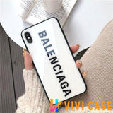 Best Stylish Balenciaga Paris Sports Tempered Glass Designer iPhone Case For SE 11 Pro Max X XS XR 7 8 Plus - White / (2nd Gen)