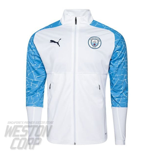 Manchester City Adult 2020-21 Stadium Jacket White & Team Blue