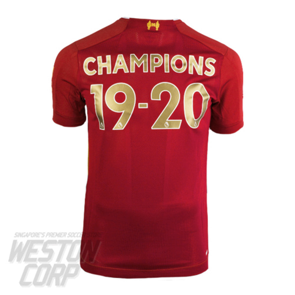 Liverpool FC Adult 2019-20 SS Home Shirt w/ Champions 19-20 Nameset + Champions Patch