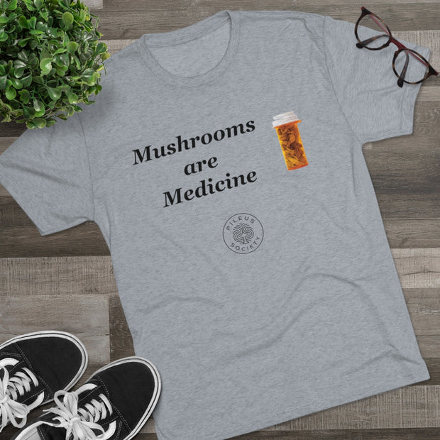 Pileus Society Mushrooms Are Medicine Men's Tri-Blend Crewneck Tee