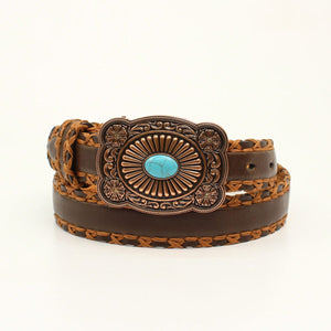 Ariat Women's Cross Stitch Lacing Brown Leather Belt